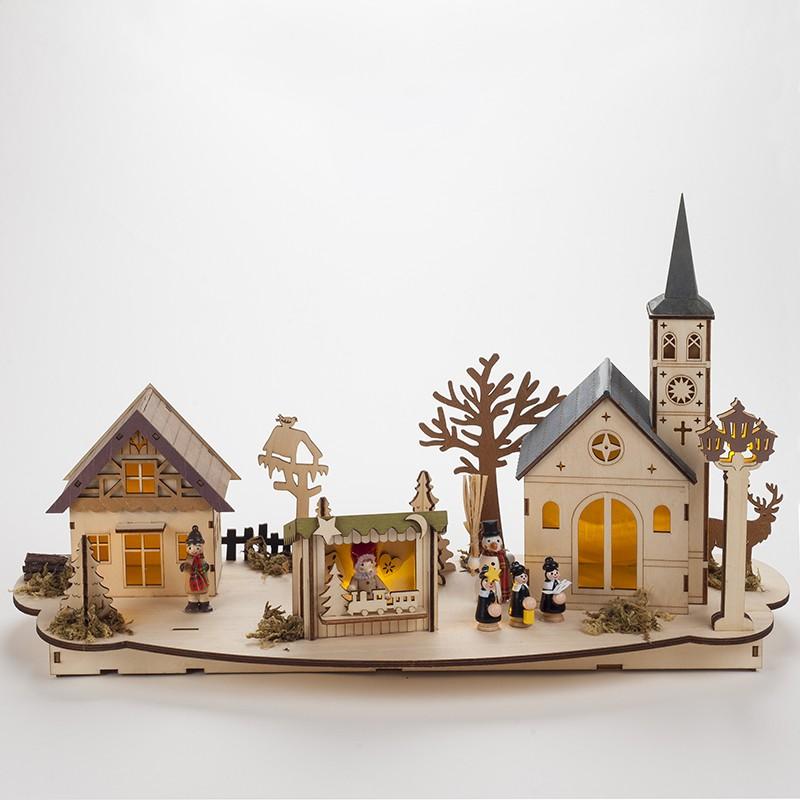 Scène de Noël illuminée en bois, décoration de Noël originale.