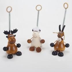 Lot de 3 animaux en bois à suspendre