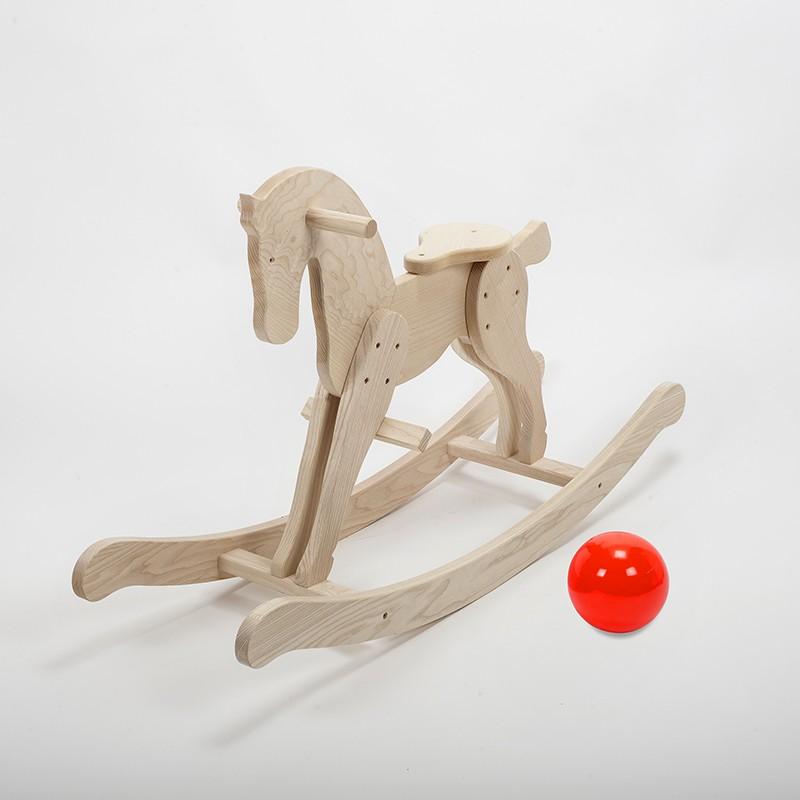 Cheval à bascule en bois massif brut (frêne)
