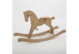 Cheval à bascule en bois massif brut (chêne)