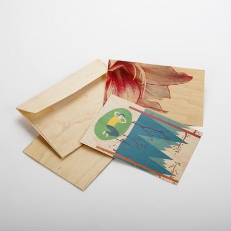 2 cartes postales en bois fleur et forêt
