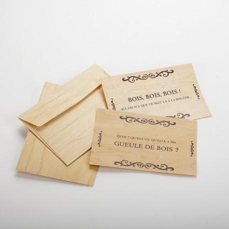 2 cartes postales en bois humour bois