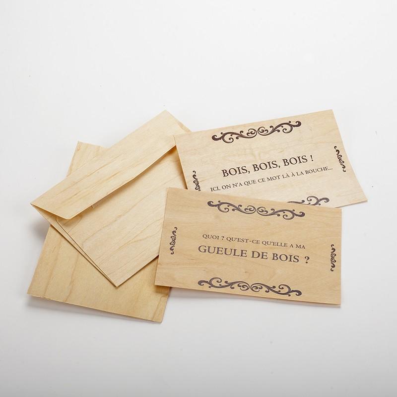 """2 cartes postales en bois """"humour bois"""""""