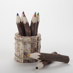 Pot et crayons de couleurs écorce