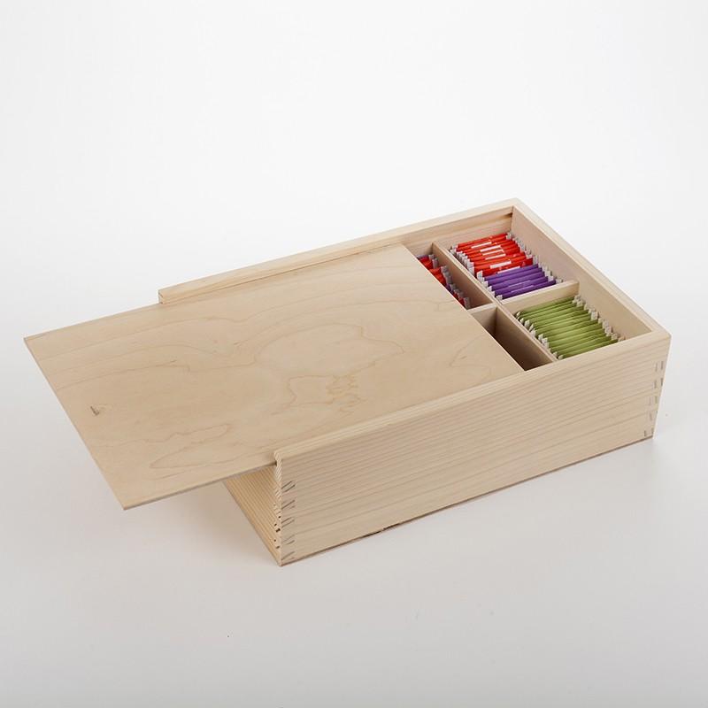 Grande boîte à tisanes bois brut