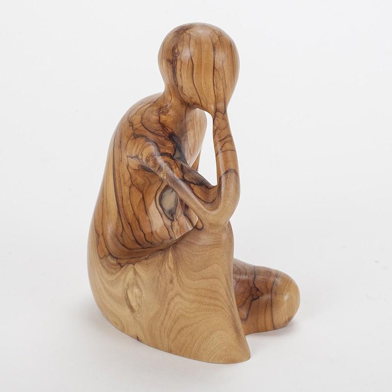 Statuette Pensive en bois (15 cm)