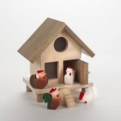 Poulailler avec coq et poules