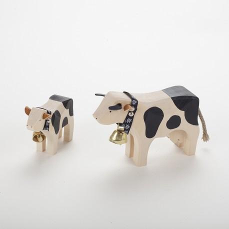 Vache (10 cm) et veau noir en bois