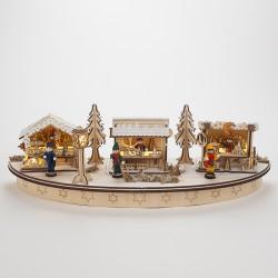 Marché de Noël illuminé en bois