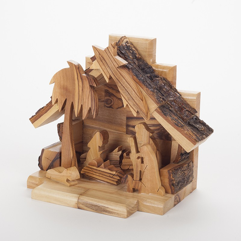 Cr che de no l en bois d 39 olivier fabrication bethl em - Fabriquer une creche de noel en bois ...