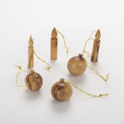 3 bougies et 3 boules à suspendre olivier
