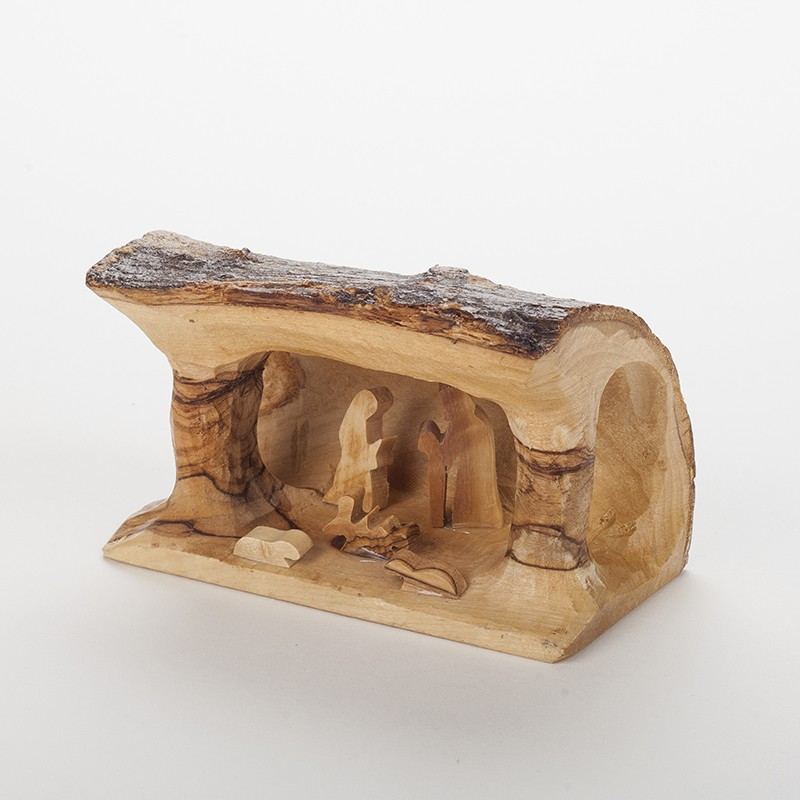 Cr che de no l en bois massif d 39 olivier fabrication bethl em - Fabriquer une creche de noel en bois ...