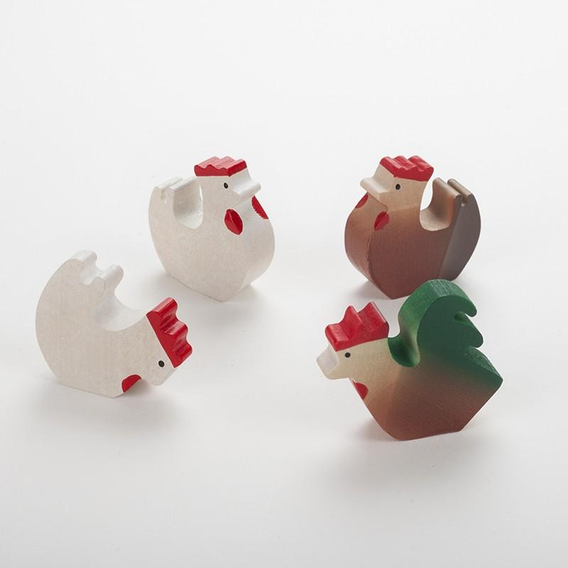1 Coq et 3 poules en bois