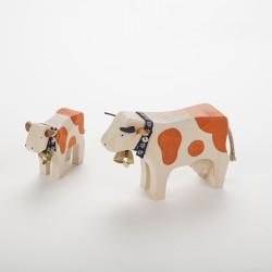 Vache (10 cm) et veau marron en bois