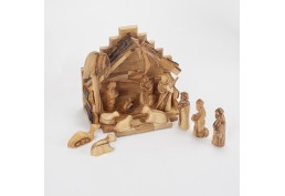 Grande crèche de Noël en Olivier