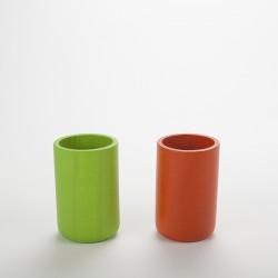 Lot pots à crayon orange et vert anis