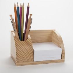 Petit organisateur de bureau en bois verni