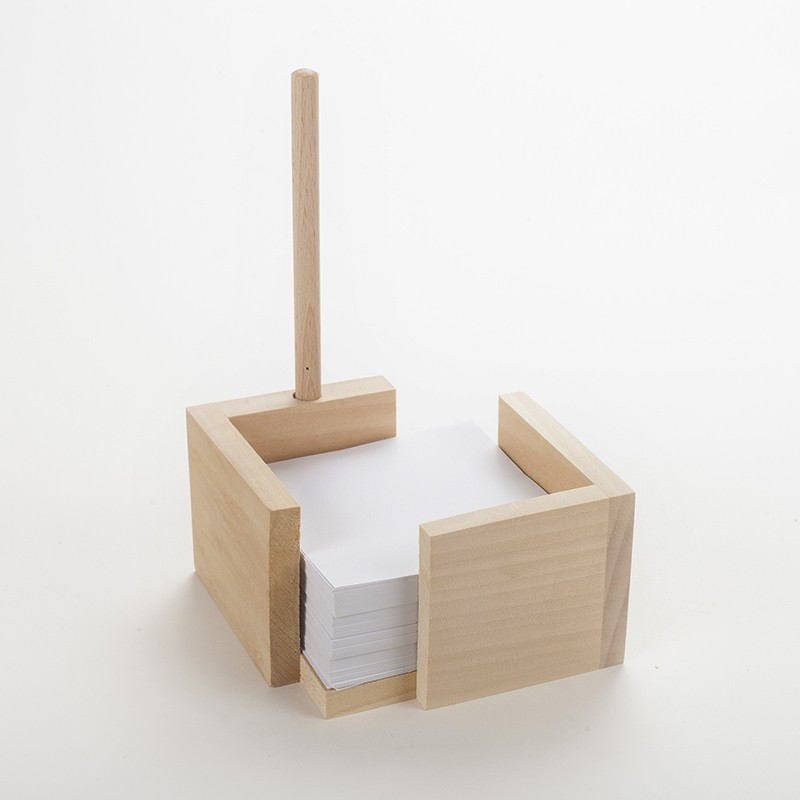 Bloc - notes & stylo bille en bois brut
