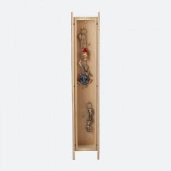 Armoire à clefs étroite bois brut