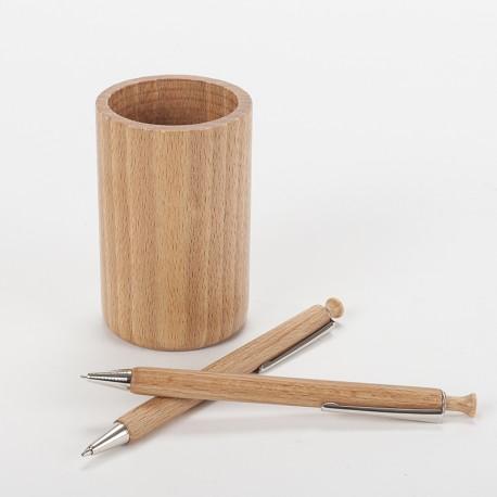 Lot pot à crayons, stylo et porte-mine en bois