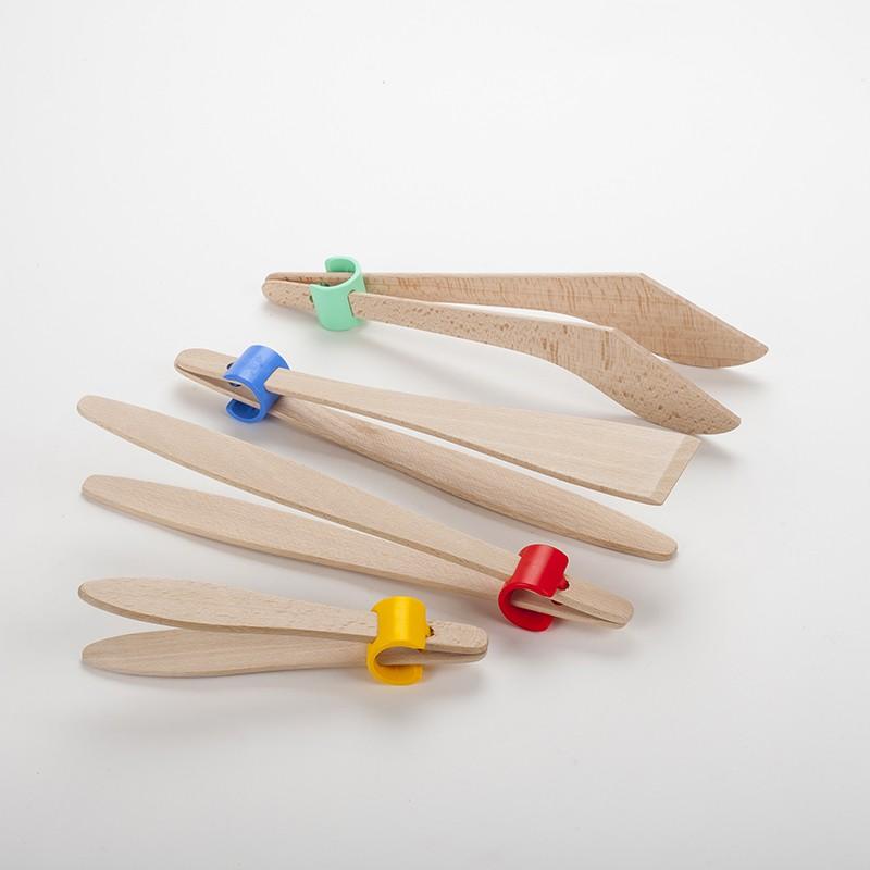 Lot de 4 pinces design en bois