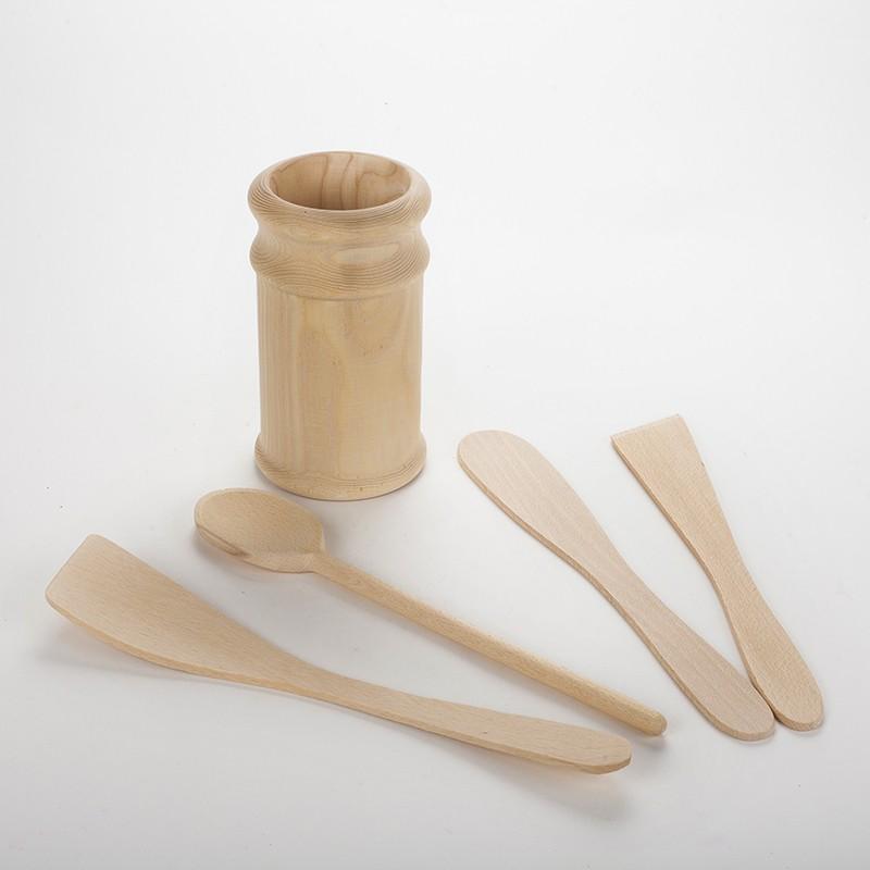Ustensiles de cuisines en bois brut non trait avec pot - Ustensiles de cuisine en bois ...