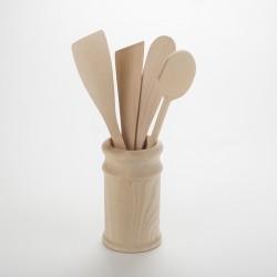 Lot pot et ustensiles de cuisine en bois