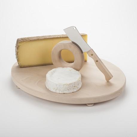 Plateau à fromage en hêtre et couperet