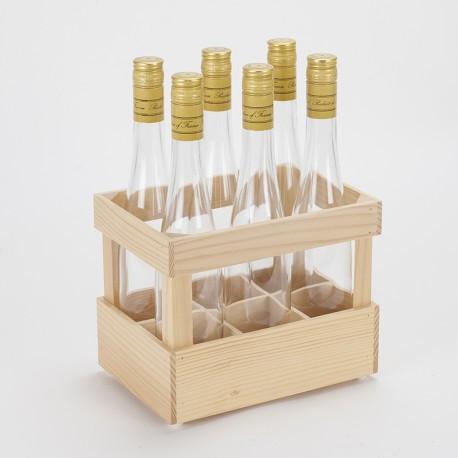 Lot 6 bouteilles dans 1 casier en bois