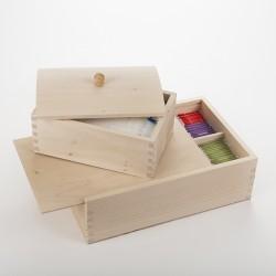 Lot boîte à tisane et boîte à sucre en bois brut