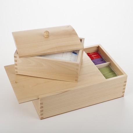 Lot boîte à tisane et boîte à sucre en bois verni