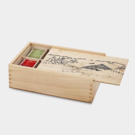 Grande boîte à tisane bois verni sérigraphié neige