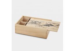 Grande boîte à tisane bois vernie sérigraphiée neige