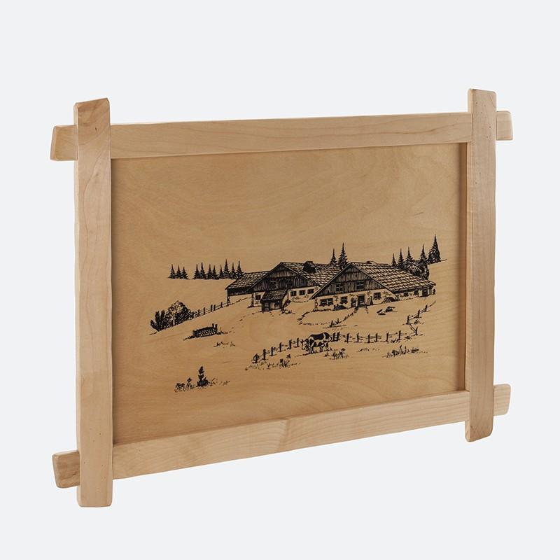 Grand tableau sérigraphié ferme comtoise 59 x 41 cm