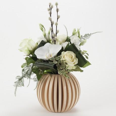 Vase Cache Cache bois boule frêne