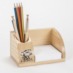 Petit organisateur de bureau en bois à motif