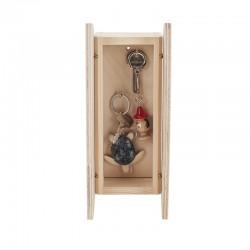 Petite armoire à clefs classique bois brut