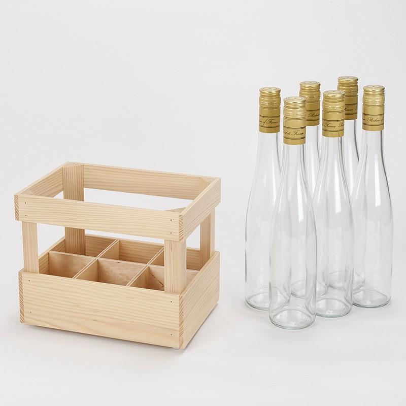 Lot 6 bouteilles dans 1 casier en bois verni