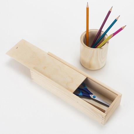 Lot plumier et pot crayon en bois