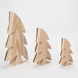 Lot de 3 sapins bois & écorce asymétriques (21, 30, 40 cm)