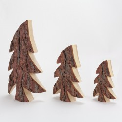 Lot de 3 sapin bois & écorce asymétrique (21, 30, 40 cm)