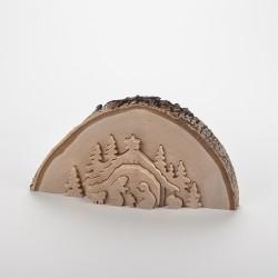 Crèche demi tronc d'arbre (23 cm)