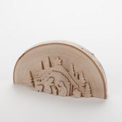 Crèche demi tronc d'arbre (18,5 cm)