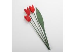 Bouquet 3 tulipes rouges en bois