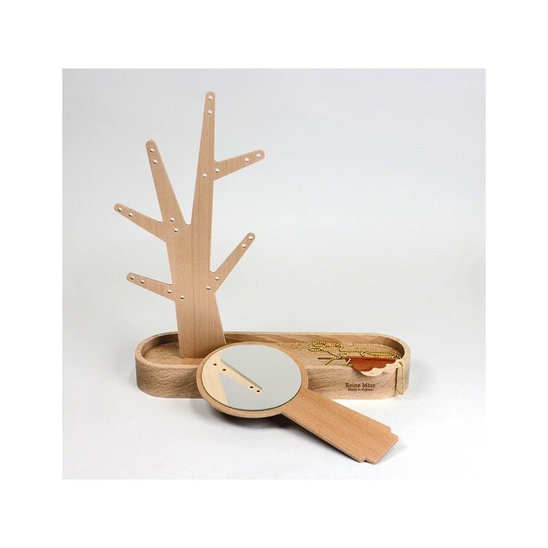 Arbre à bijoux et miroir en bois