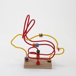 Boulier Lapin coloré avec socle en bois fabrication française
