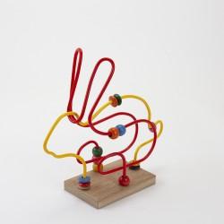 Boulier Lapin original et de couleurs distinctes en bois et en plastique fabriqué en France