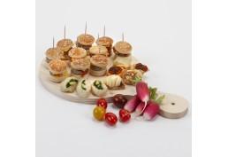 Planche petite en bois pour brunch, mini pizzas ou mini tartes