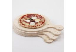 Ensemble 4 planches en bois avec pizza, fabriqué en France