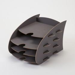 Casier de 4 rangements gris en bois, fabrication européenne